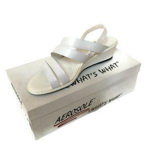 aerosole strapeze leather upper sandals white NEW